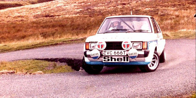 Tony Pond at the wheel of the Talbot Sunbeam Lotus in 1979