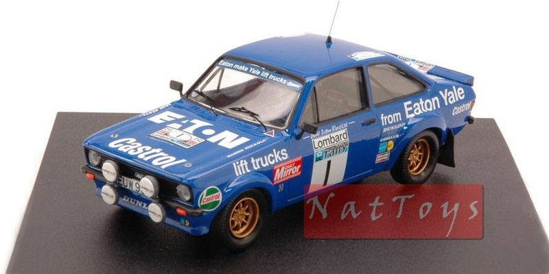 Scale model of the Ford Escort MKII of Mikkola-Hertz on the 1980 Lombard RAC Rally