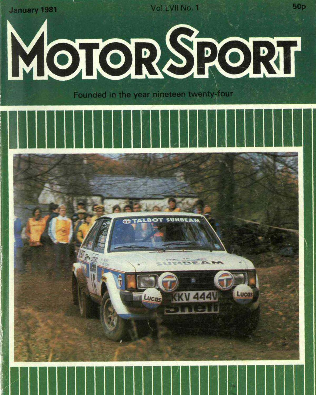 La imagen del Talbot Sunbeam Lotus de Toivonen-White en el RAC de 1980 ocupó la portada de la revista Motorsport de enero de 1981