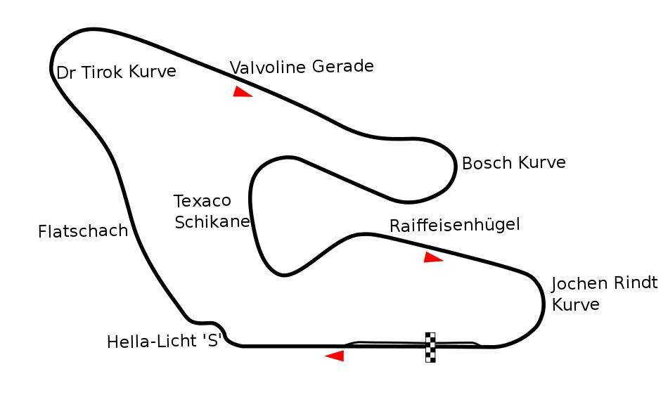 Plano del circuito de Osterreichring en la versión utilizada para el Gran Premio de Austria de 1982