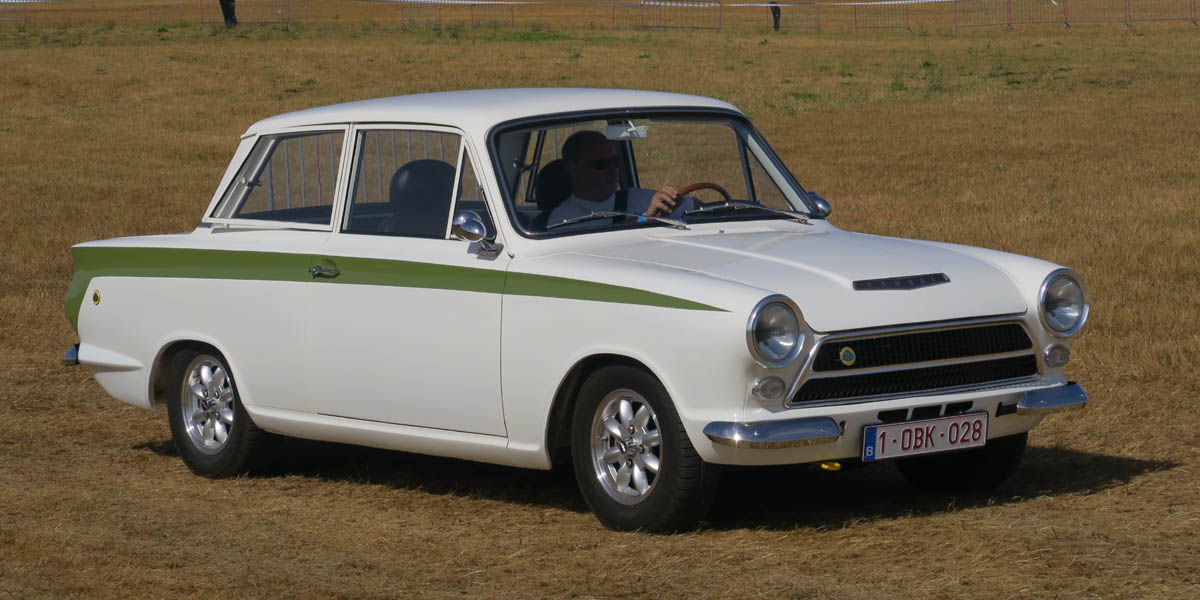 The Ford Lotus Cortina production car with its distinctive livery
