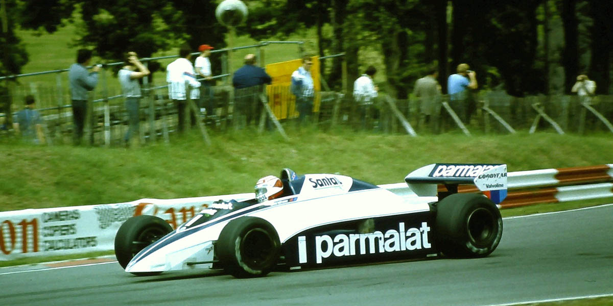 Piquet at the wheel of his Brabham BT50 with its BMW turbo, the most powerful engine in 1982