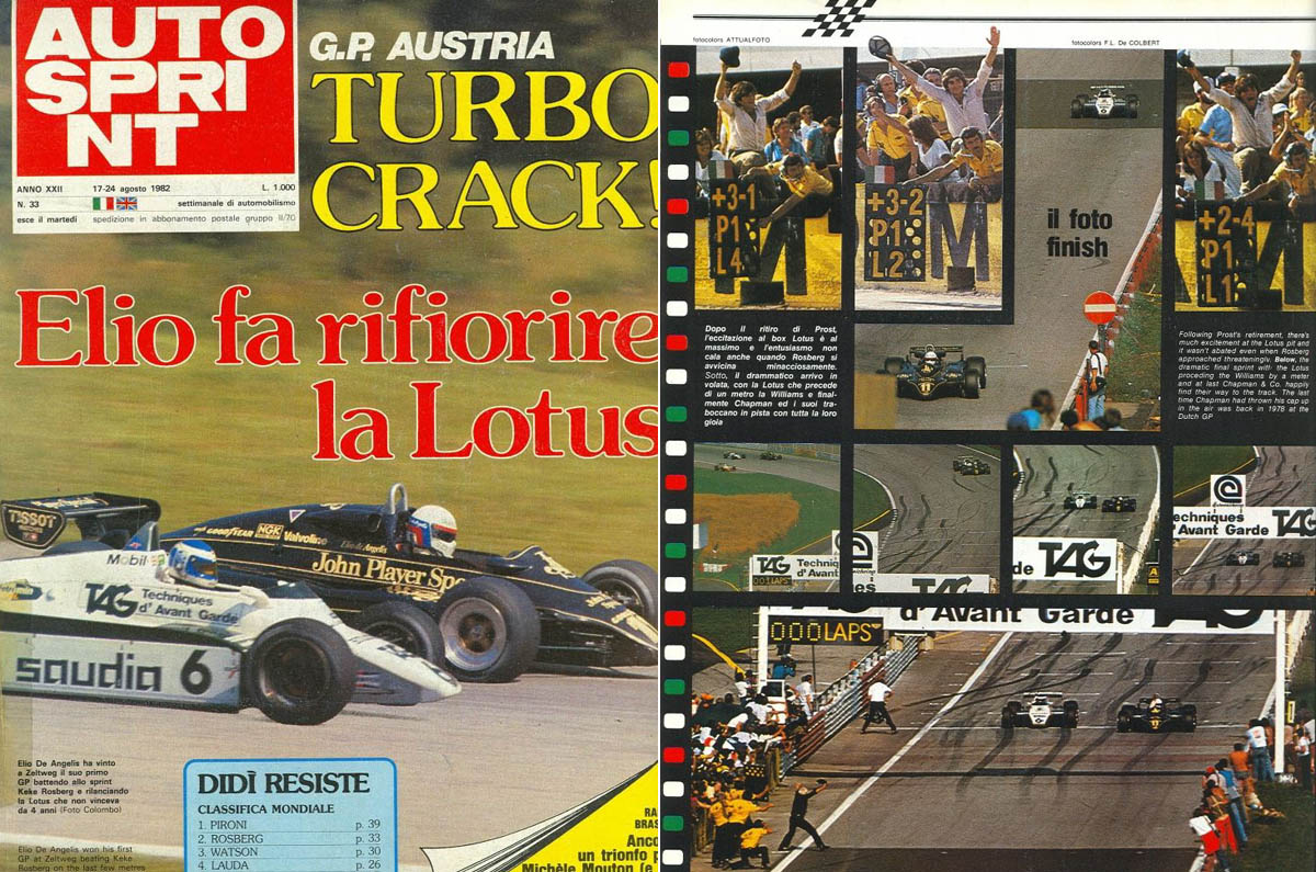 The win of De Angelis in the Italian magazine AutoSprint: The front page with the heading 'Elio makes Lotus flourish again' and a photographic sequence of the last moments of the race